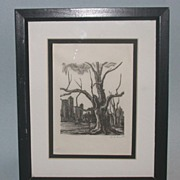 Moody and Deep - Skyline of New York Overshadowed By Sinister Tree - Signed by Artist Hans Mueller -