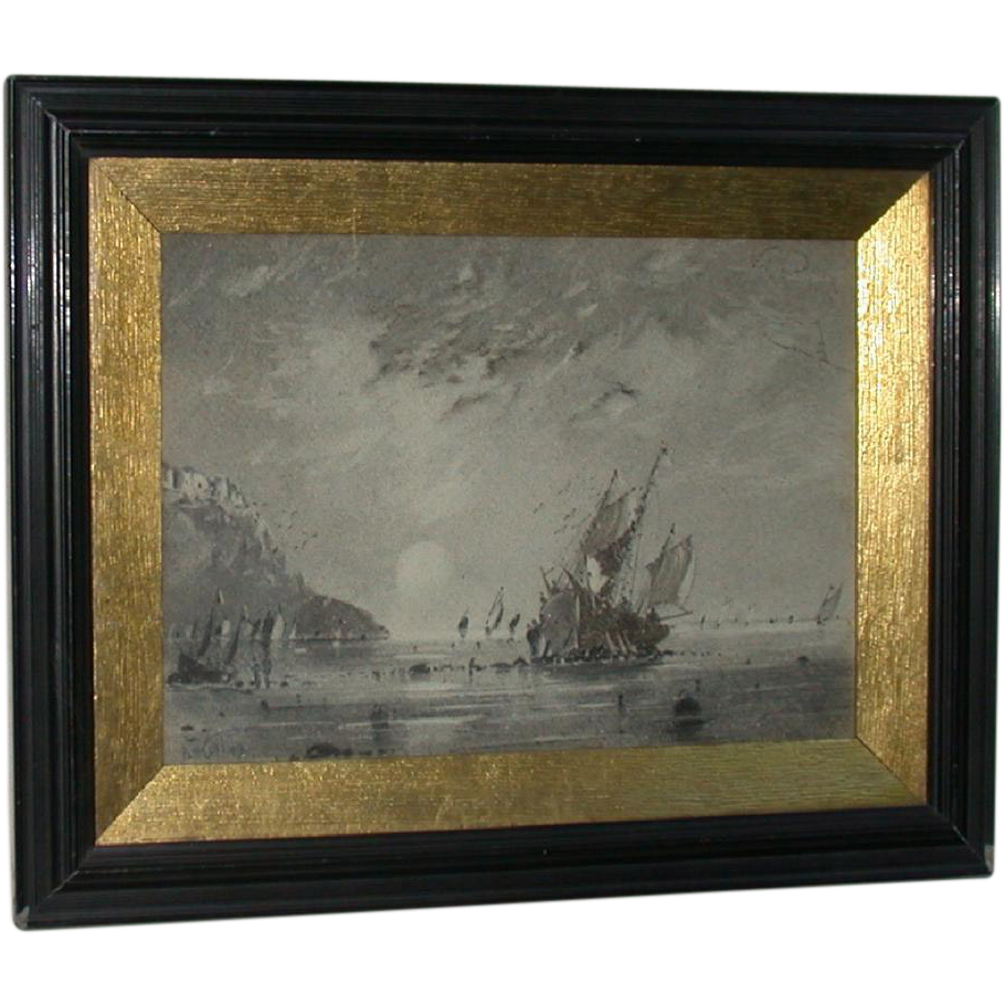 Original Fine Ink Wash, Coastal Landscape, Signed and Dated, PW Brunt,  1912