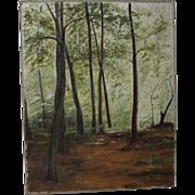 Original Oil On Canvas - Fine Woodland View In Summer