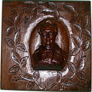 Victorian Carved Oak Panel,  Portrait of Sir Walter Scott  in High Relief.