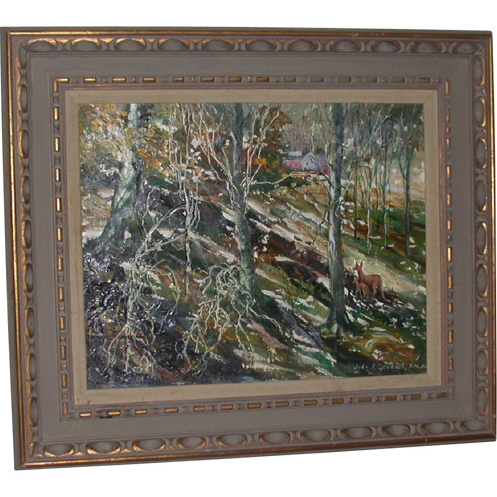JOHN GRABACH (American, 1886 - 1981)  - Original Signed Oil On Canvas