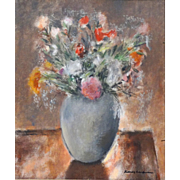 "Sidney Laufman, Well-Listed Florida Artist  - Original Oil Painting - ""Bouquet Of Flowers In A Vase"" -  Signed"