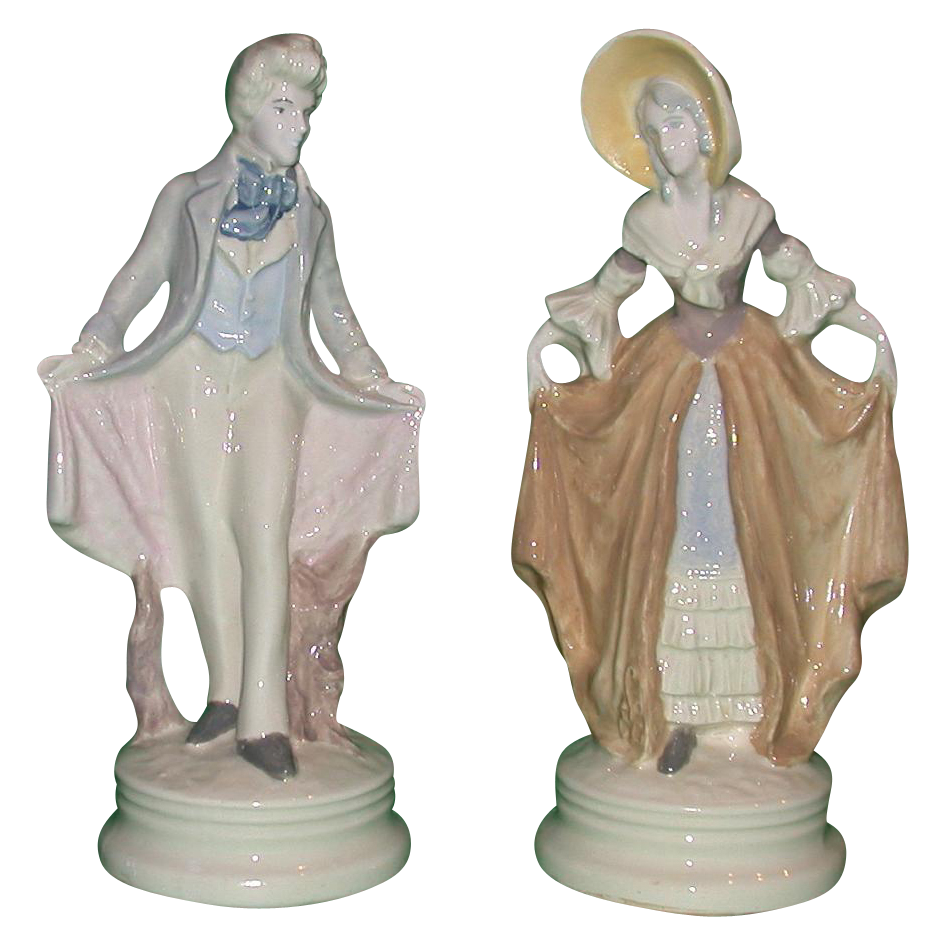 Extremely Rare Pair Of Corday (Cybis) Hand-Painted Porcelains, c 1940