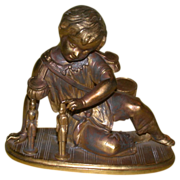 Antique Victorian Statuette: A Sweet Little Boy With Drums And Soldiers! c Late 19th Century