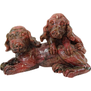 ART DECO  Rhodonite Carving Of Spaniels, c 1920, Outstanding