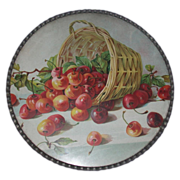 Antique German Flue Cover, Victorian - Overturned Basket Of Cherries