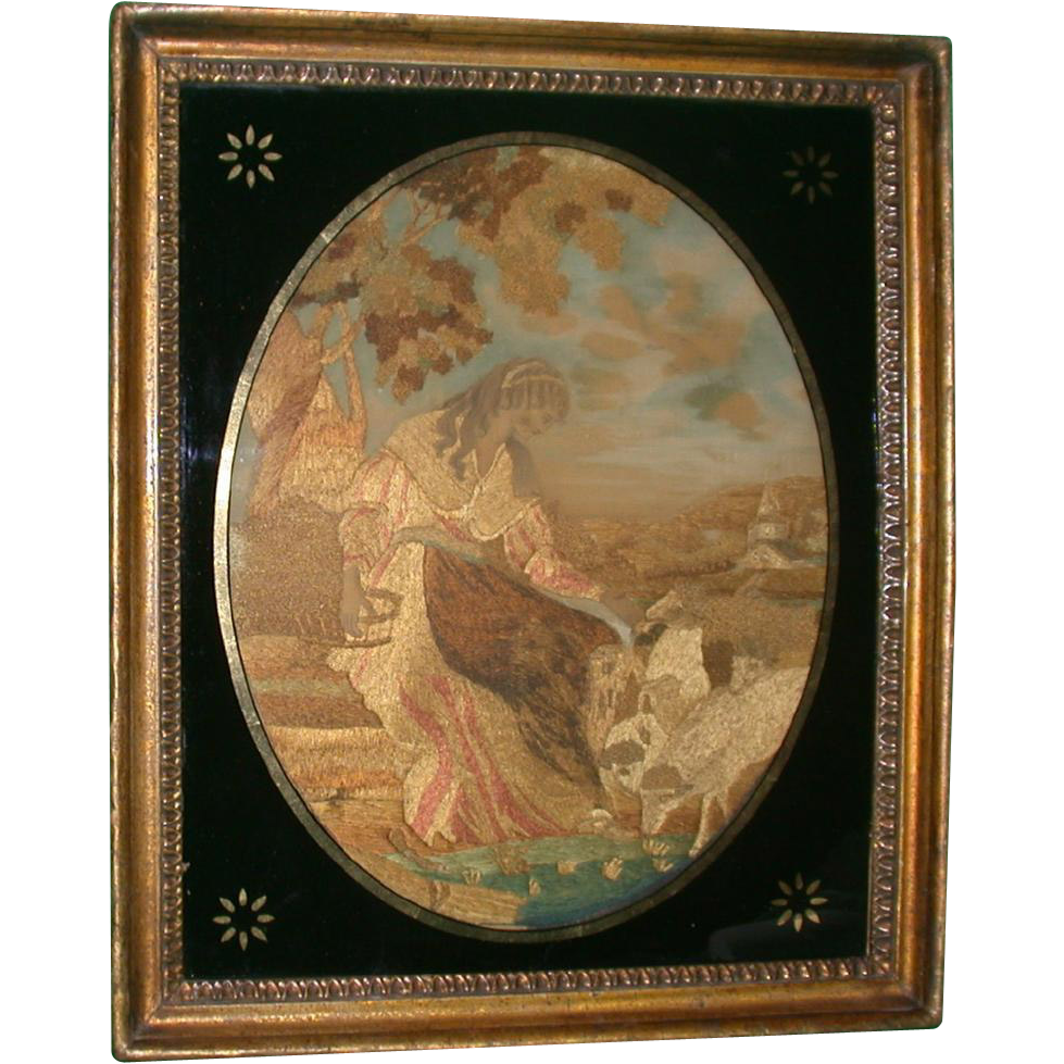 Antique Silk and Needlework Scene, c 1815, English, Estate of Mary Pickford