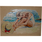 "Original Oil On Artist's Board - ""Sunbather With Hat"" -Signed, c 1960"