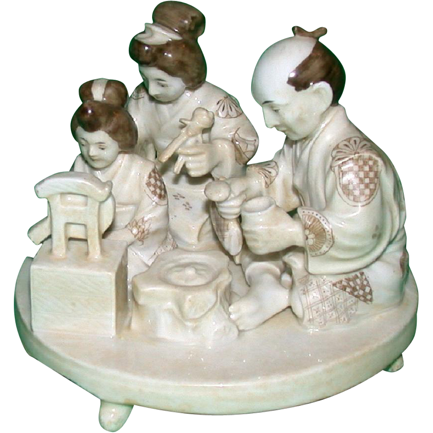 Unusual Porcelain Figural Group Of A Japanese Family, Signed - From the Birkhauser Estate