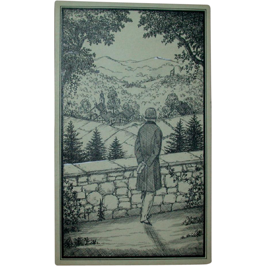 "Original Ink Drawing ""A Beautiful View"" by Erich Simon, Signed, c 1910"