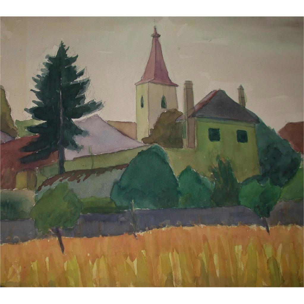 "Original Watercolor - ""The Village"" - by Viennese Secessionist, Listed Artist Rudolf Petrik, c 1946!"