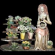 Charming Capodimante Porcelain - Flower Seller With Cart