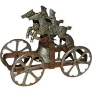 Antique Tin Toy Wagon With Bell, Two Riders On Horses