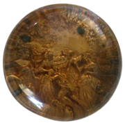 Very Unusual Large Antique Pinchbeck Paperweight, Gold Color With Victorian Scene, c 1850