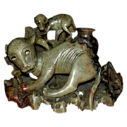Fascinating  Asian Hardstone Carving Of Dog-Like Animals