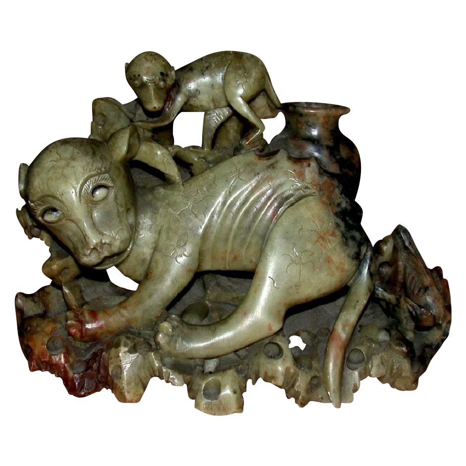 Fascinating  Asian Green And Reddish Brown Hardstone Carving Of Dog-Like Animals