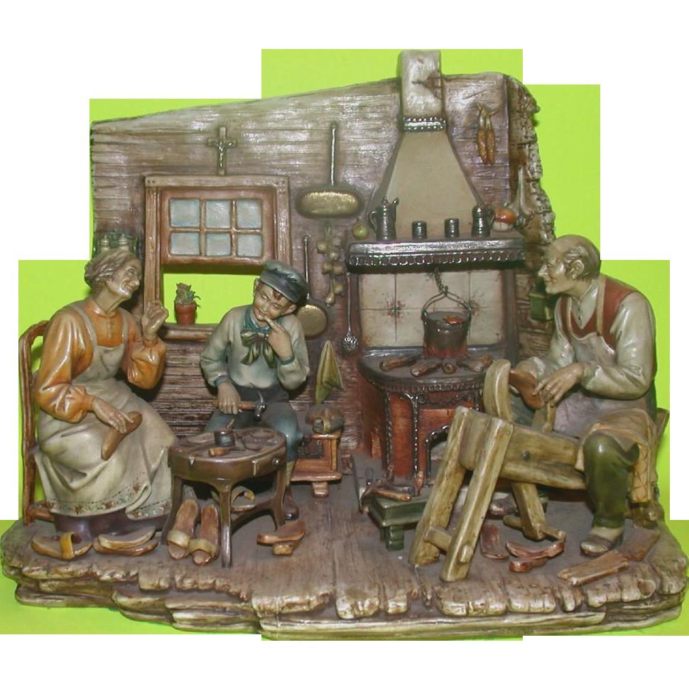 """Borsato - """"The Wooden Shoe Maker"""" - Rare Multi-Figural Diorama -"""