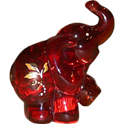 Fenton - Ruby Elephant - Handpainted, Signed, J. K. Spindler