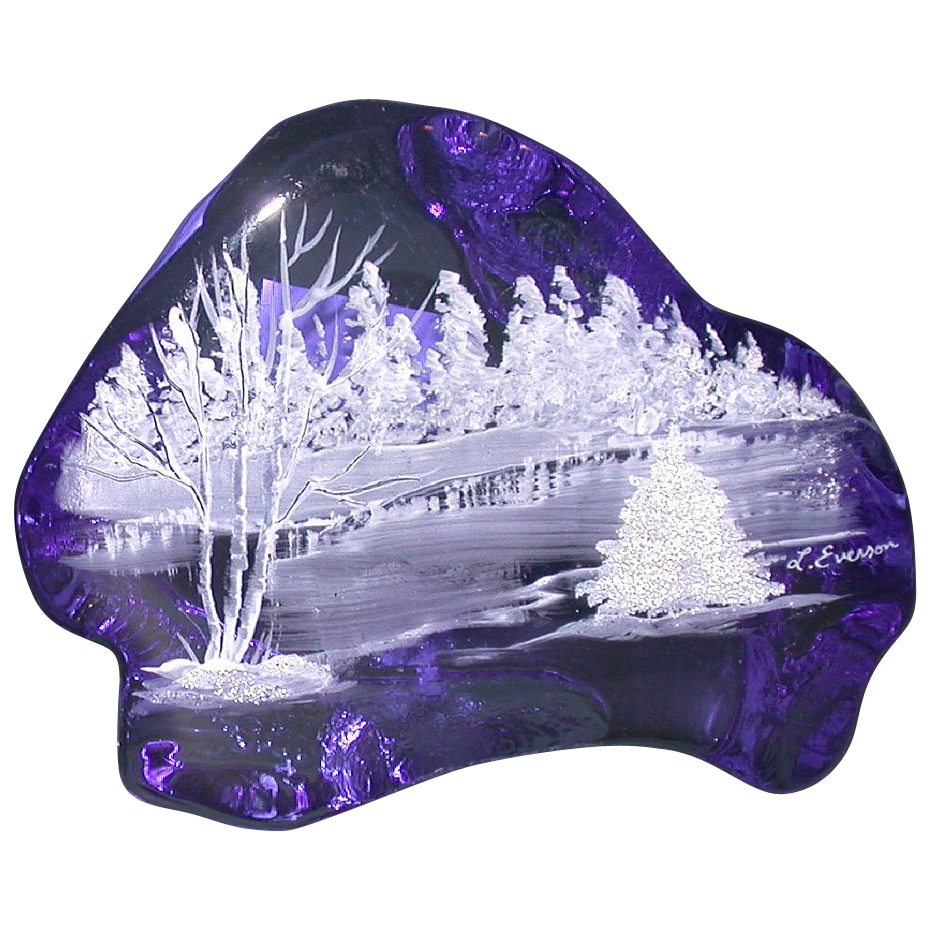 "Original Work by L. Everson: Hand-Painted Cobalt Blue Iceberg Paperweight, ""Winter Scene"""