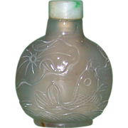 Masterfully Carved Antique Chalcedony Snuff Bottle, c between 1820 and 1880