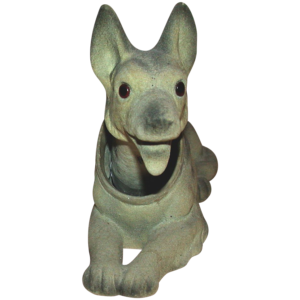German Shepherd (Alsatian) - Vintage Bank With Bobble Head - c 1950