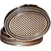 EXCEPTIONAL French Silver Gilt Patch Snuff Box and Mirror, c 1850
