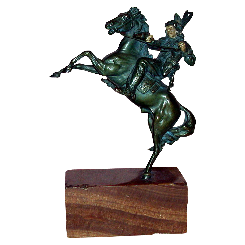 Kauba - Magnificent Signed Bronze Indian On Horseback - c 1920
