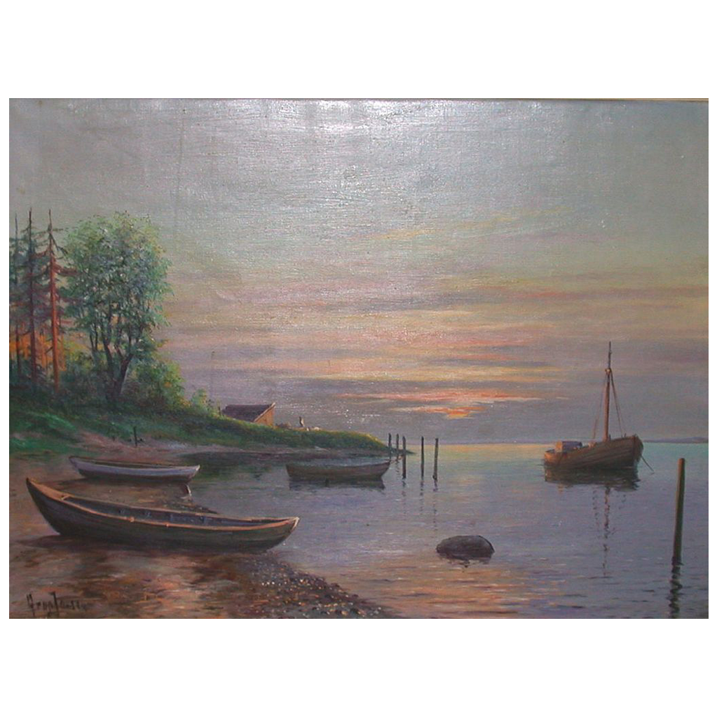 Noted Danish Artist Arup Jensen - Hauntingly Beautiful Coastal Scene At Dawn - Oil On Canvas