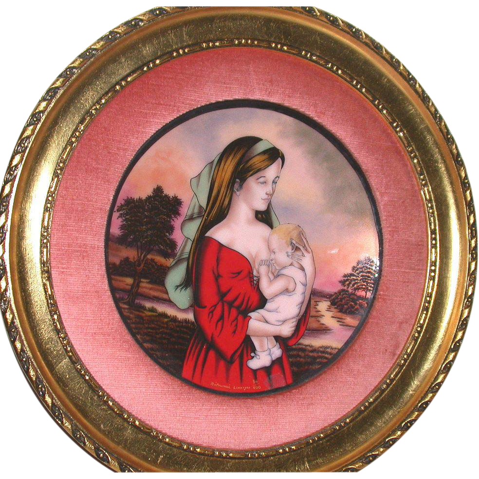 Magnificent Huge 1975 Mother's Day Enamel On Copper - Signed/Numbered Limited Edition