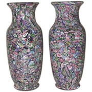 Extraordinary Offering:  Extremely Rare Museum Quality Antique Clichy Pair Of Signed Scrambled Millefiori Vases