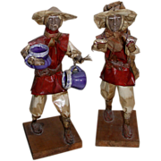 Unusual Vintage Pair of Chinese Working Men Figures