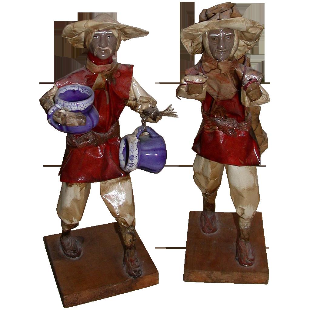 Vintage Pair of Chinese Working Men Figures
