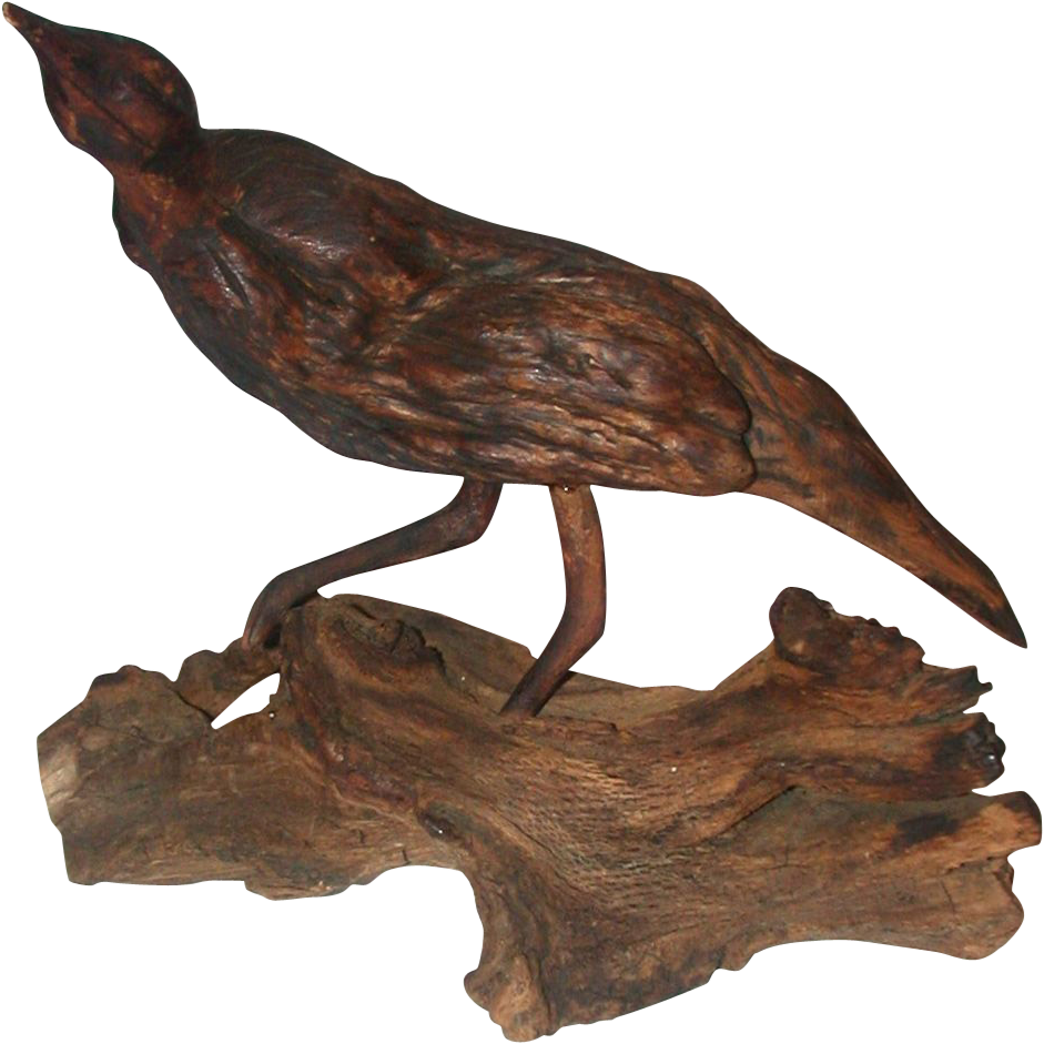 Very Unusual Native American Root Form Carved Wooden Bird, 19th Century