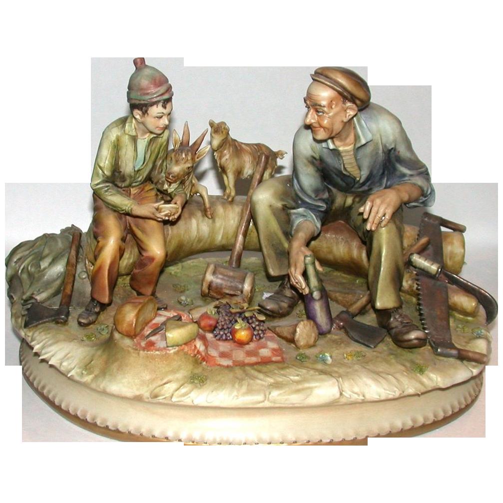 Extremely Rare Antonio Borsato Multi-Figural Porcelain Sculpture
