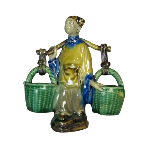 Chinese Sancai Glazed Mudman Figure Of Woman With Yoke And Baskets , circa 1920s