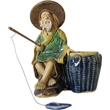 Rare Chinese Water Jar For Washing Calligraphy Brushes In Form Of Fisherman's  Bait Basket, c 1930