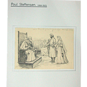 Original Antique Drawing by Poul Steffensen (1866-1923), Signed and dated 1900