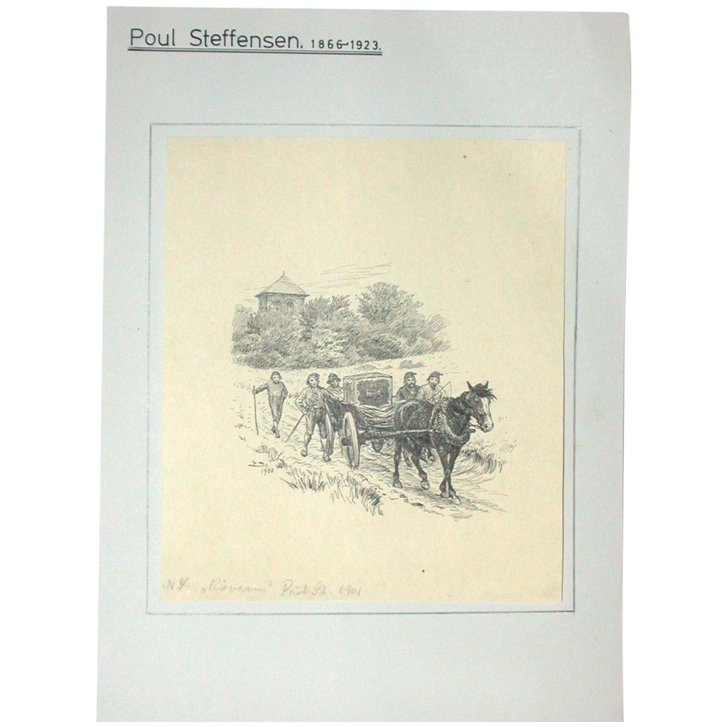Original Antique Drawing by Poul Steffensen (1866-1923), Dated 1901