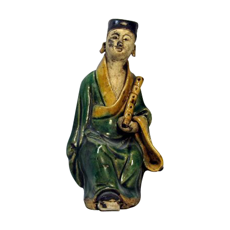 Chinese Mudman Seated Figure of Han Xiang Zi With Bamboo Flute, Symbolic of Giving Life, Circa 1920