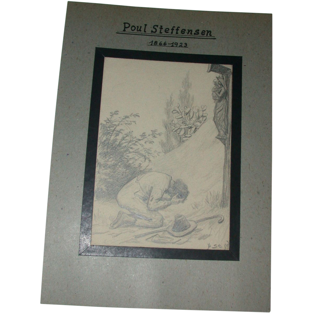 Poul Steffensen (1866-1923) - Original Pencil and Watercolor Drawing on Paper - Wanderer By  Wayside Shrine -Circa 1898
