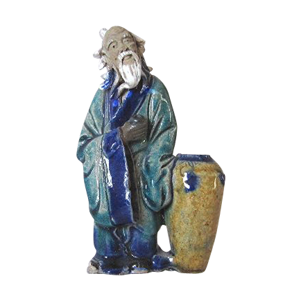 Chinese Mudman Standing Figure of the Old Bard Li Bai Po With Wine Jug and Cup, C 1930