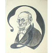 "Poul Steffensen (1866-1923) - Antique  Decorative Initial ""D"" Portrait Of A Man,  c 1908"