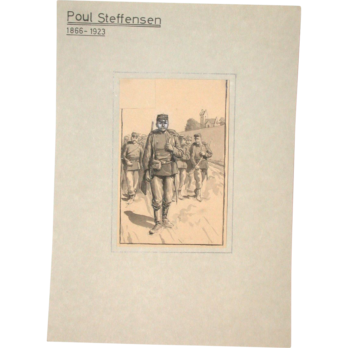 Poul Steffensen (1866-1923) - Original  Pencil, Pen and Watercolor Drawing on Paper, Circa 1900 - 1910