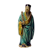 Chinese Mudman Standing Figure Of the Immortal, Han Xiang Zi, With Flute (Immortality), Circa 1920