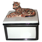 Vintage Porcelain Lidded Box From Italy With Leopard On Lid