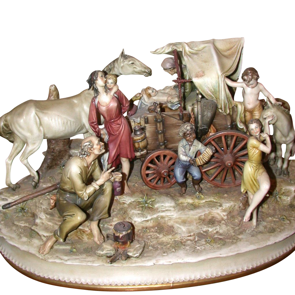 "Borsato -Magnificent  ""Gypsy Camp"" - One of the Master's Most Detailed Multi--Figural Porcelain Sculptures"