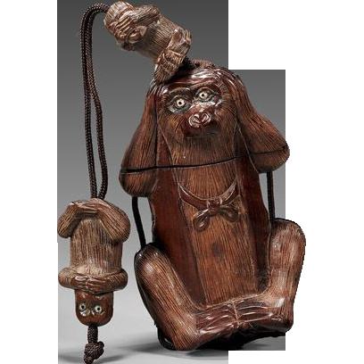 "Single Case Wood Inro ""Three Wise Monkeys"