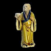 RARE Antique Chinese Mudman Standing Buddhist Monk With Alms Bowl - Circa 1900.