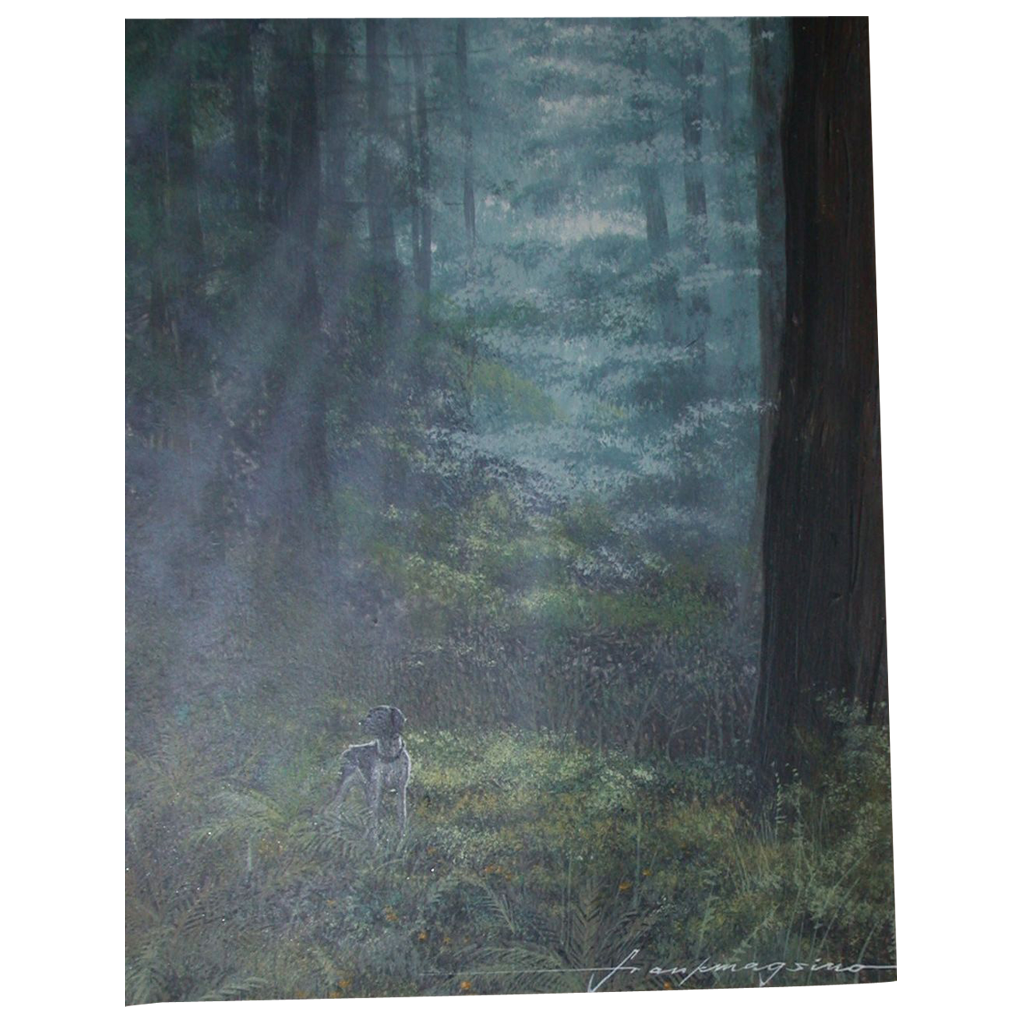 """Frank Magsino (b. 1927) -  """"Hunting Dog In The Woods"""" Circa 1970s"""