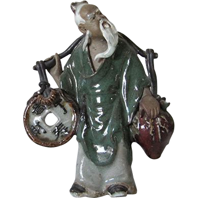 RARE Chinese Mudman Yoke Bearer With Coin and Peach (Symbols of Wealth And Long Life) Circa 1930